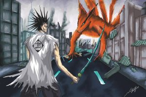kenpachi Vs nine tails by he1lfire