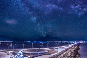 Milky way over highway by andreiburcea