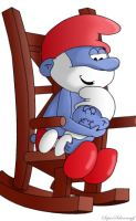 Papa Smurf And Baby Smurf by SuperSmurgger