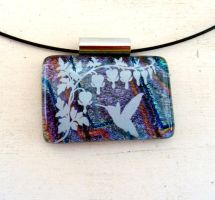 Hummingbird Bleeding Hearts Fused Glass Pendant by FusedElegance