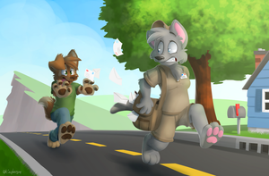 Dog Chasing the Mailman by ThesePantsDontFit
