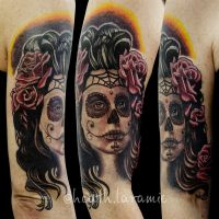Day of The Dead Tattoo by againstheindustry