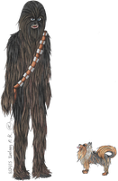 Chewbacca and Chewie - COMMISSION by L-i-NKedxART