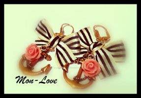 Nautical  vintage style bow earrings by MonLoveMonLove