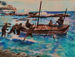 Shackleton Expedition watercolor from photo by TJKruse