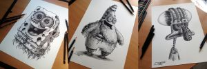 Spongebob / Patrick / Tadeus Pencil Drawing by AtomiccircuS