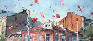 Red balloons by kalinatoneva