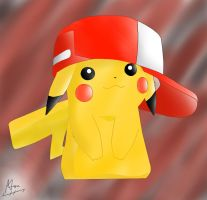 Pikachu In Ashs Hat by AFATALTOUCH