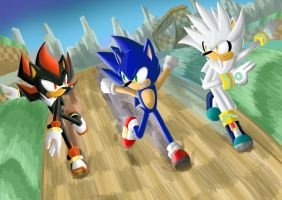 Green Hill Zone with Sonic, Silver, and Shadow by Dogwhitesector