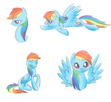 Colored Rainbow Dash Sketches by Wolf-Spirit99