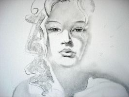 Florida Girl (charcoal on canvas) by AdrianMoraru