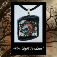 Skull Fire Pendant by KabiDesigns