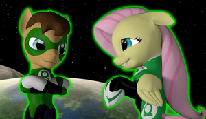 Green Lanterns Duet ( Fluttershy and Hal Jordan ) by Neros1990