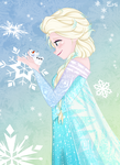 Elsa and tiny Olaf by Tokio92