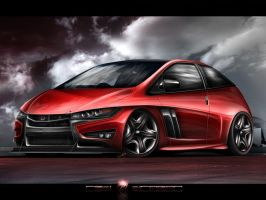 Honda Civic Red Dragon by MarlboroDesign