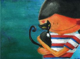 boy with cat by fojzoj