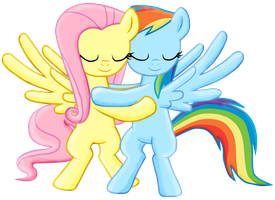 FlutterDash hug -Collab by Fluttershy626