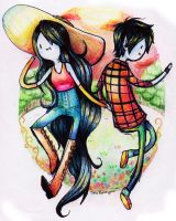 Marceline and Marshall lee by Esha-R