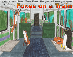 Foxes on a Train by takeshita-kenji