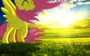 Fluttershy in the Breeze by MrKupKake