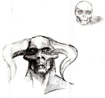 Demon head and skull sketch by silentbackground