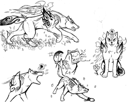 Okami Ink Pen Doodles- and Wolf Link by Super-Sonic-101
