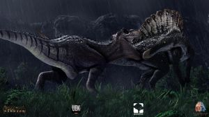Rex vs Spino by evilsmiley2