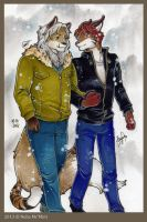 XALE AND DEMARA - Winter Stroll - [COMMISSION] by noha1990