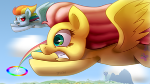 Fluttershy's Sonic Rainboom by Zoiby
