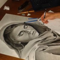 Drawing Afghan Girl by Maiconvaz