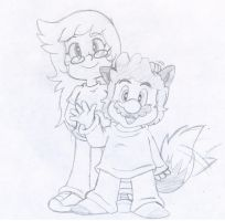 Commish: Abbie and Wolfie by Nintendrawer