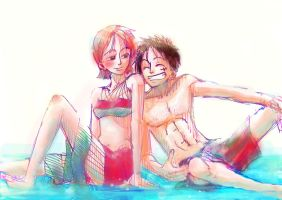 Photoshopped Luffy and Nami by fujiya