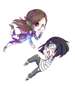 Chibi D.va and TheDeadlyWaffle (Commission) by castformgrass