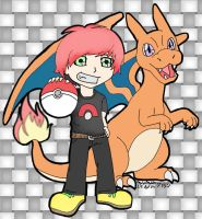 Charizard and trainer by RegisFaria