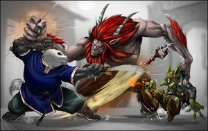 WOW pandaren vs satyr by ItsBadBeGood