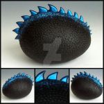 Custom Black and Electric Blue Dragon Egg by MandarinMoon