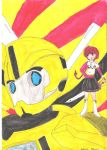 Transformers in CLAMP: Bee and Hikaru by TsukinoNekoHime