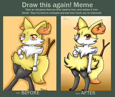 Before and After Yui the Braixen by Riolu4aural