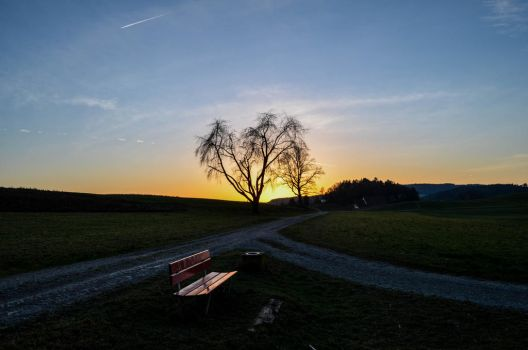 Sunset with bench by Sputnich