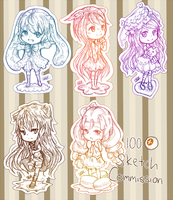 :PC: Sketch Commish July Batch by x3urara