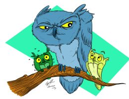 Three Owls by Little-Bluefish