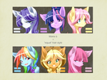Mane 6 with 'equal' hair style by nabebuta11