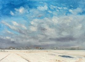 Winterday Today painting en plein ar oil painting by NancyvandenBoom