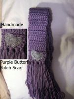 Purple Scarf w- silver butterfly patch by SewAnimated