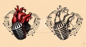 Music heart. Adam Gontier Solo Live 2013 Tattoos by Anastina91