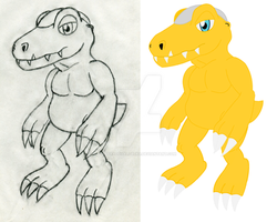 Before and After: OreAgumon by ParadoxalOrder