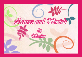 10 leaves and swirls  brushes by mystique87