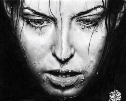 Pencil drawing of a girl with wet face by chaseroflight