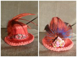 Red + Pink Hearts Mini Hat Hair Clip by AbsolutelyFascinated