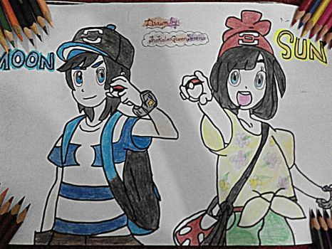 Sun and Moon Protagonists~Hand Drawing-11 by TheKalosQueenSerena